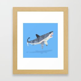 Low Poly Great White Shark Framed Art Print