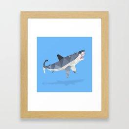 Low Poly Great White Shark Framed Art Print