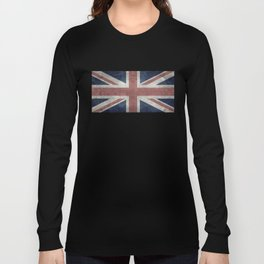 UK Flag, Retro Desaturated 1:2 scale Long Sleeve T-shirt