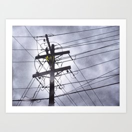 Street Light and Power Lines Art Print