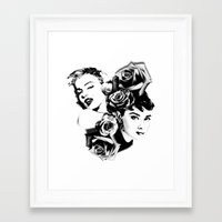 marylin monroe Framed Art Prints featuring Marylin Monroe and Audrey Hepburn by Sunnicide Pmpkn