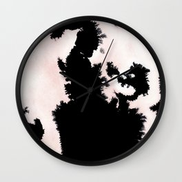 black, white and pink abstract 25 Wall Clock