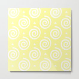 Happy Swirls Pattern on Yellow. Metal Print