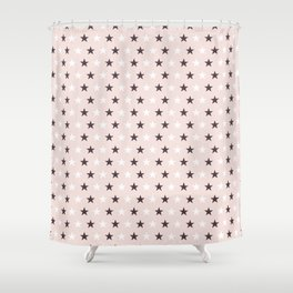 Deep purple and white stars on pale pink Shower Curtain