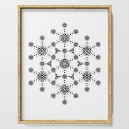molecule. alien crop circle. flower of life and celtic patterns Serving Tray