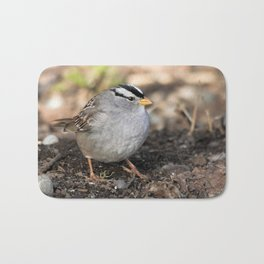 Profile of a White-Crowned Sparrow Bath Mat