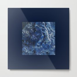 Structure in wood. Wood knots in cobalt blue Metal Print