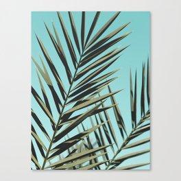 Palm leaf, Tropical, Blue, Green, Nature, Modern art, Art, Minimal, Wall art Canvas Print