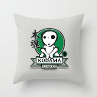 kodama Throw Pillows featuring Kodama Sake by adho1982