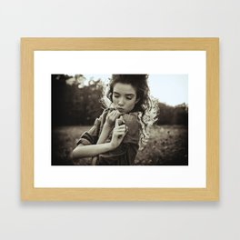 the little poor girl kiss Framed Art Print