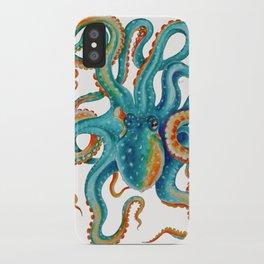 Octopus Teal Watercolor Ink iPhone Case