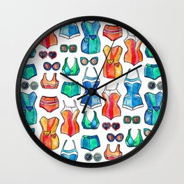 Sixties Swimsuits and Sunnies on white Wall Clock