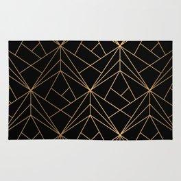 Elegant geometric copper black Rug