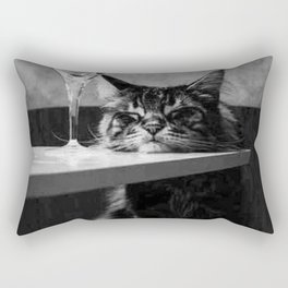 The Nightwatch Cat at the Absinthe bar black and white photograph / art photography Rectangular Pillow