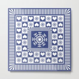 Hearts and Snowflakes Blue and White Metal Print