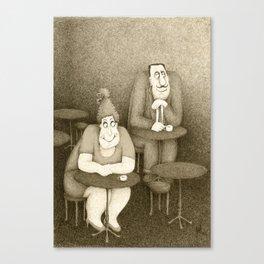 Tables & Eyes (Retro Sepia Version)  Canvas Print