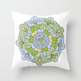 Mandala | Hearts and Flourish | Green Touch copy Throw Pillow