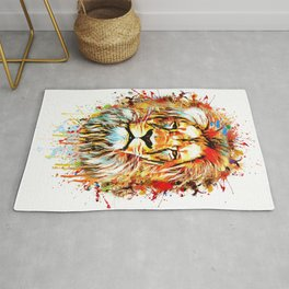 lion face abstract illustration Rug