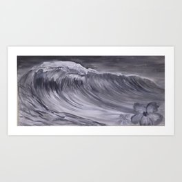 Grey Scale Wave and Hibiscus Art Print