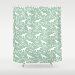 German Shepherd florals dog lovers dog silhouette floral pet pattern dogs Shower Curtain