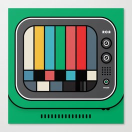 green tv and test card Canvas Print