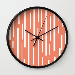 Interrupted Lines Mid-Century Modern Retro Pattern in White and Coral Blush Pink Wall Clock