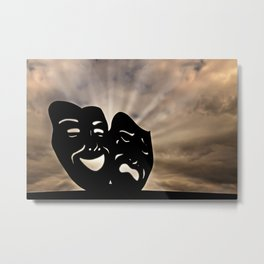 The masks of the theater signify comedy and tragedy, happiness and sadness, Pathos. Metal Print