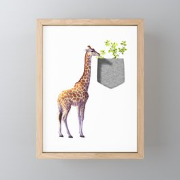 Giraffe Reaching For Branch With Leaves In Fake Pocket Wildlife Gift Design  Framed Mini Art Print