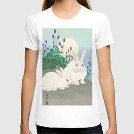 Rabbits in the field - Vintage Japanese Woodblock Print Art T-shirt