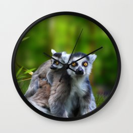 Ring Tailed Lemurs Wall Clock