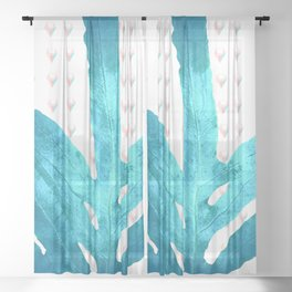 Pantone Rose Quartz Pink Fern Inverted Ice Blue Diamond Sheer Curtain