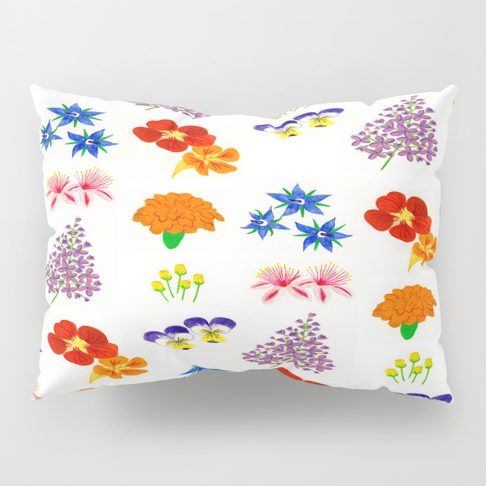 Edible Flower Pattern Pillow Sham by Bethnewcott PSH7419723