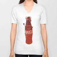 dalek V-neck T-shirts featuring Dalek-Cola by colleencunha