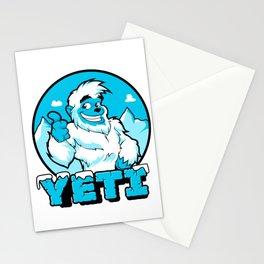 Smiling cartoon yeti Stationery Cards