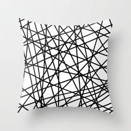 Lazer Dance Black on White Throw Pillow