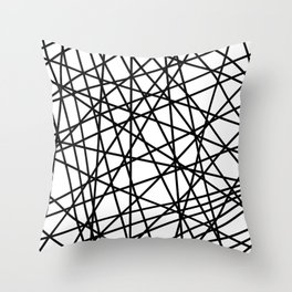 Lazer Dance Black on White Throw Pillow