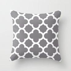 Gray Quatrefoil Throw Pillow