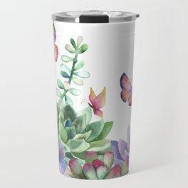 A Splendid Secret Succulent Garden With Butterfly Visitors Travel Mug