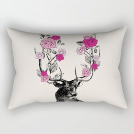 The Stag and Roses | Pink Rectangular Pillow