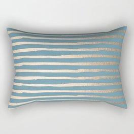 Abstract Stripes Gold Tropical Ocean Blue Rectangular Pillow