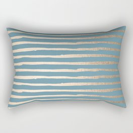 Abstract Stripes Gold Tropical Ocean Blue Rectangular Pillow