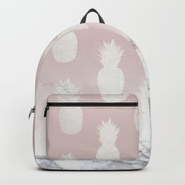 Golden Pineapple Madness on Marble Backpack
