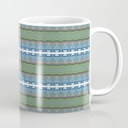 Periwinkle, Moss Green and Pastel Indigo Neo Tribal Micro Pattern Coffee Mug