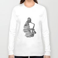 jazz Long Sleeve T-shirts featuring jazz  by Zuhal Arslan