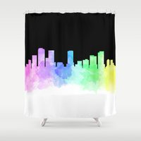 denver Shower Curtains featuring Denver Skyline by Emily Brady