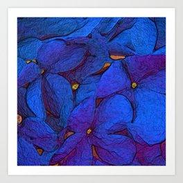 Crinkly floral blue Art Print