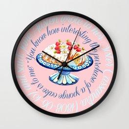 Jane Austen quote about sponge cake // watercolor cake Wall Clock