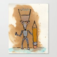 novelty Canvas Prints featuring Lil' Dorkbot and the Novelty Pencil by Taylor Winder