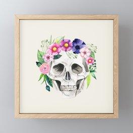Skull with Flower Crown Framed Mini Art Print