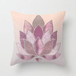 Elegant Glamorous Pink Rose Gold Lotus Flower Throw Pillow